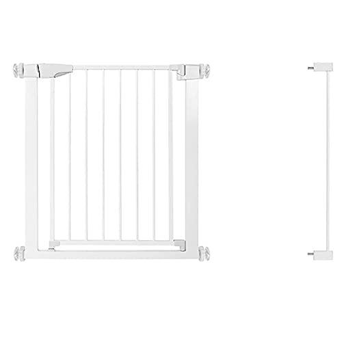 GXQ Barrera de Seguridad de Niños para Puertas Y Escaleras, Doble Interruptor, con Cierre De Presión, Auto Close, Valla dDe Seguridad de Escalera O Pasillo para, Blanco(Size:82-89cm)