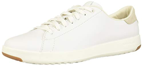 Cole Haan Women's GrandPro Tennis Leather Lace OX Fashion Sneaker, Optic White/Optic White, 8 B US