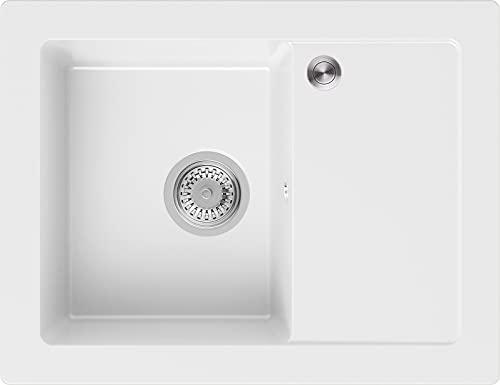 Granitspüle Weiß 64 x 49 cm, Spülbecken + Siphon Pop-Up, Küchenspüle ab 45er Unterschrank, Einbauspüle Ibiza von Primagran