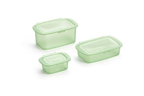 Lékué Kit 3 Recipientes Reutilizable de Silicona para conservar Alimentos 0.2 L,0.5 L,1 L