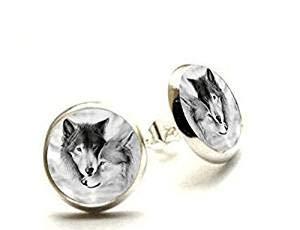 Pendientes de lobo de amor, con diseño de lobo, joyería de lobo, joyería de animales, pendientes hipoalergénicos