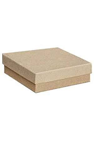 """Cotton Filled Kraft Jewelry Boxes - 3½"""" x 3½"""" x 1 - Case of 100"""