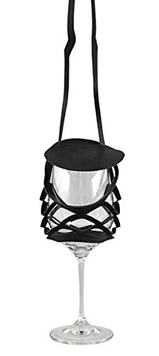 VINSTRIP® GLASSLING - Weinglashalter zum Umhängen mit Spritzschutz, Schwarz