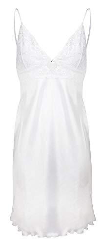 DKaren Damen Nachthemd | WIRYDANA | aus Satin und Spitze | Größen XS-2XL 100% Polyester | L Weiß