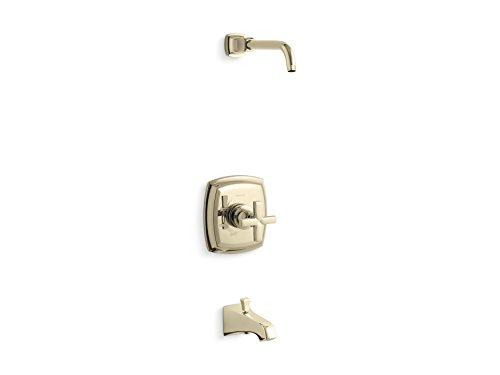 Kohler K-TLS16225-3-AF MARGAUX Rite-Temp válvula de baño mango en cruz y boquilla NPT, menos alcachofa de ducha FRANCH GOLD, Oro francés vibrante