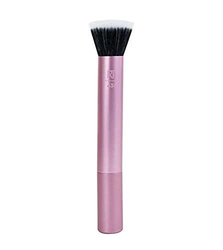 REAL TECHNIQUES - Brocha Para Colorete - Stippling Brush - Adecuada Para Colorete En Polvo Y En Crema - Brocha De Maquillaje Con Cerdas Sintéticas De Doble Fibra - Diseño Profesional, Multicolor