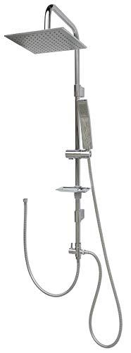 Dusche Regendusche Set mit Wandhalterung ohne Armatur Überkopfbrauseset Duschsystem Brausestange 100cm variable Halter