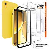 Orzly iPhone XR Screen Protector Tempered Glass for 6.1 inch XR. Pack of 3 Includes 2 x 0.22mm Screen Protectors & 1 Yellow Flexicase for All Round Protection Plus Applicator Kit for Easy Installation
