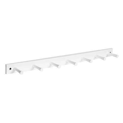 Spectrum Diversified Wall-Mounted 7 Peg Wood Hook Hat Organizer Coat Hanger for Entryway or Closet Bathroom Storage Racks for Towels Bath Robes White