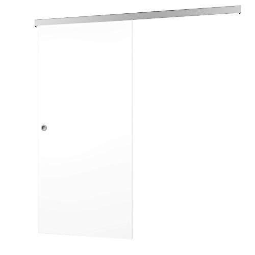 inova Schiebetür Holz 880 x 2035 mm hoch weiß Aluminium Komplettset mit Laufschiene + Griffmuschel