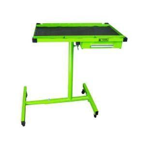 K Tool International Heavy Duty Tear Down Tray and Work Table with Drawer, Portable and Adjustable, 220 Pound Capacity, Rubber Corners, Green