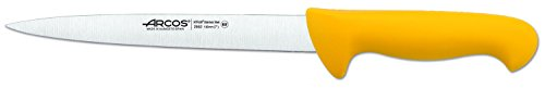 Arcos Serie 2900, Cuchillo Fileteador Semiflexible, Hoja de Acero Inoxidable Nitrum de 190 mm, Mango inyectado en Polipropileno Color Amarillo