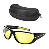 Anti Glare Night Driving Sunglasses HD Safety Sight Night Vision Glasses for Outdoor Activity with UV400 Polarized Sport Sunglasses for Men and Women with Glasses Case
