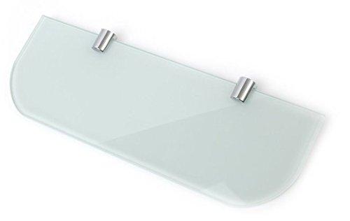 Estante de cristal templado de seguridad de 300 mm por 100 mm de grosor, color blanco y 6 mm de grosor, con bordes curvados y soportes de estante cromados.