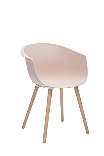 """Amazon Brand - Rivet Alva Modern Curved-Back Plastic Dining Chair, 23.2""""W, Nude Pink"""