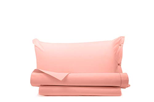 Juego de sábanas 100 % algodón liso fabricado en Italia de plaza y media rosa