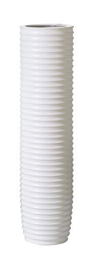Casablanca - Vase - aus Keramik matt weiß mit Rillenstruktur H 58 cm