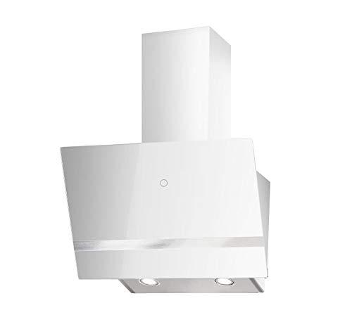 PROKIRA DH60GW-03 deluxe 600m³/h Weiss Kopffreihaube Wandhaube Schräghaube Dunstabzugshaube Abluft Umluft Haube LED Sensor touch Edelstahl Glas 60 cm