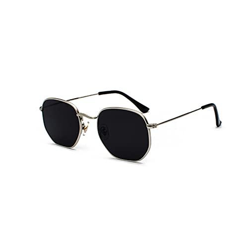 Tanxianlu Gafas de Sol cuadradas Doradas para Mujer Gafas de Sol Negras Plateadas con Espejo para Hombres con Montura metálica Uv400 de Cara pequeña,A