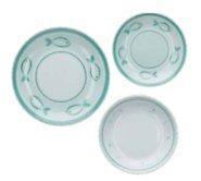 Rose&Tulipani Service d'assiettes 18 pièces Panarea composé de 6 assiettes plates + 6 assiettes creuses + 6 assiettes à dessert en porcelaine
