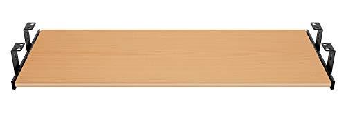 FIX&EASY Guide scorrevoli con ripiano 600X400mm texture dekoro legno faggio per porta-tastiera cassetto, staffa per binario scorrevole nero 400mm, estraibili per tastiera mouse e laptop
