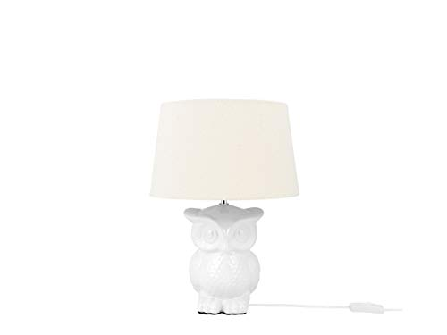 Beliani Verspielte Tischlampe Eulen-Motiv Keramik/Polyester Owl