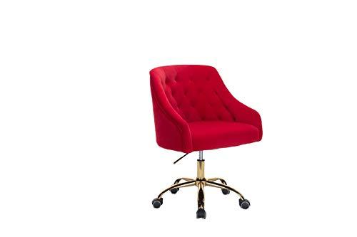 ZOBIDO Home Office Task Chair with Wheels, Velvet Seashell Back Swivel Desk Chair, for Kids, Women, Girls Living Room, Vanity, Red
