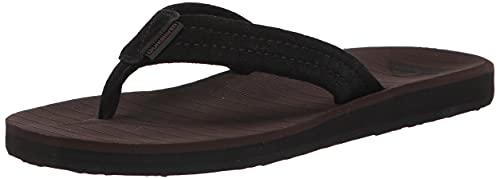 Quiksilver Men's Carver Suede 3 Point Flip Flop Athletic Sandal, Brown 1, 14
