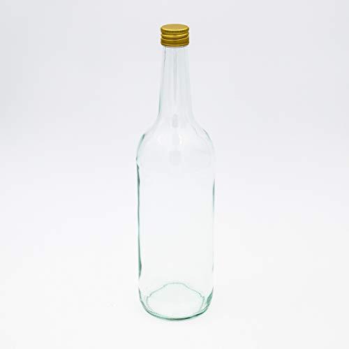 24 Kleine Glasflaschen 500ml (0,5l) mit PP28 Schraubverschluss Gold – Leere, kleine Flaschen zum Befüllen, z.B. Leere Weinflaschen, kleine Schnapsflaschen, Likörflaschen 500 ml
