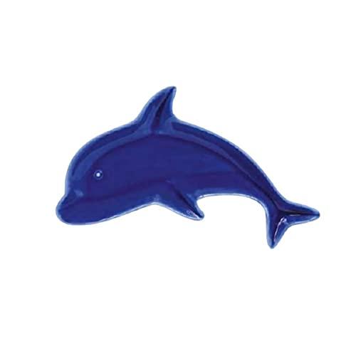 EASY LIFE Plato con forma de delfín de porcelana Sea Friends, azul y azul, 26,5 x 18 cm