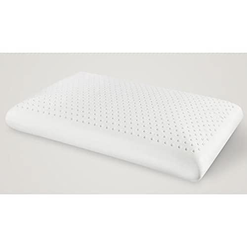 Pinpig Almohada de látex Natural, Protector de Funda de algodón orgánico 100%, Almohada de Cama de Soporte Medio para Dormir, para la Espalda, Ayuda a aliviar la presión, el Dolor de Cuello y Hombros
