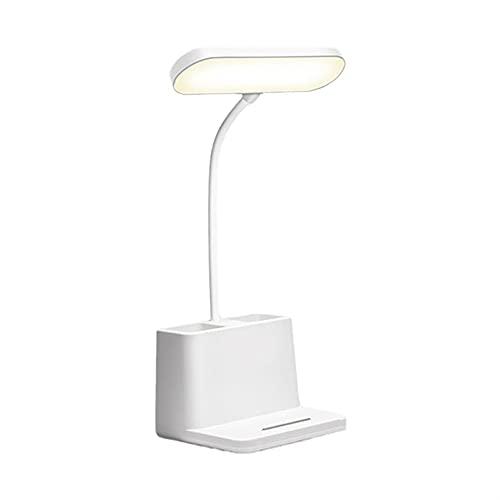 Lámpara de escritorio LED con soporte de bolígrafo, lámpara de escritorio recargable para computadora de escritorio, lámpara de mesita de cabaña flexible 360 ° para leer y estudiar, lámpara de estud