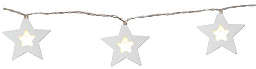 Star Lightchain, Cable:Transparent, Wooden, 10 Warm White LED, Timer, Length 1,35m, Battery Operated, Wood,