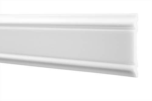 2 Meter | Flachleiste | hartes Styropor | Decke | stabil | weiß | Stuckprofil | Zierleiste | leicht | dekorativ | HXPS | 7x47mm | HW-3