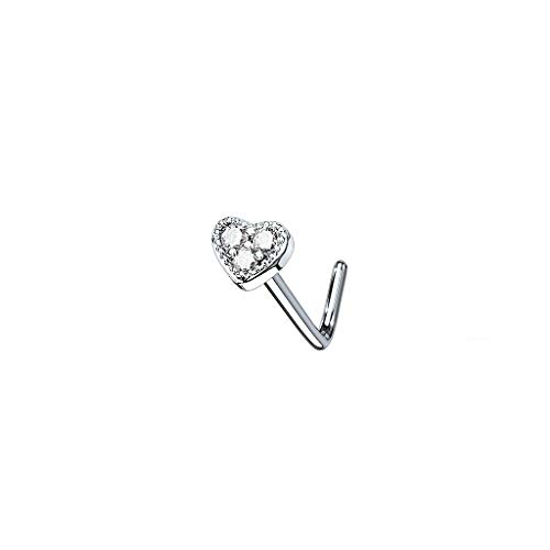 beyoutifulthings Nose Piercing Heart Zirconia 4 mm Nose Ring Nose Stud L Shape Surgical Steel Multicoloured Bar Length 6 mm Silver