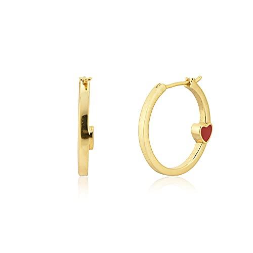 925 Plata Oro 18mm Rueda Aro Mujer Moda Corazón Esmalte Oro rojo Moda Bonita joyería Grandes joyas-Círculo dorado