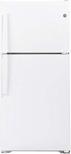 GE 33 Inch Freestanding Top Freezer Refrigerator with 21.93 cu. ft. Total Capacity, 2 Glass Shelves, Right Hinge with Reversible Doors, Crisper Drawer, Frost Free Defrost (White)