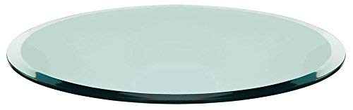 TroySys Round Glass Table Top Clear Tempered 1/2' Thick Glass with Beveled Polished for Dining Table, Coffee Table, Home & Office Use - 24' Inch