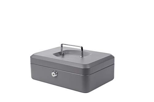 PAVO 10' Cassetta Portavalori in Metallo con 2 chiavi, Vassoio rimovibile, Grigio scuro