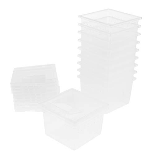SM SunniMix 10 Stück Transparent Wasserreptil Zuchtbox Insektenbox für Reptilien Wasserreptil, Größe (LxBxH): Ca. 6,5 x 6,5 x 4,4 cm