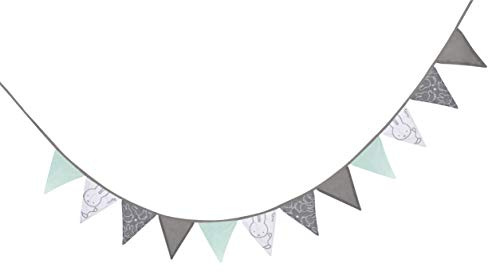 Roba wimpelketting 'miffy', stoffen slinger, 100% katoen, 12 wimpels op ca. 2 m, totale lengte band 3 m, kinderkamer, babykamer, decoratie