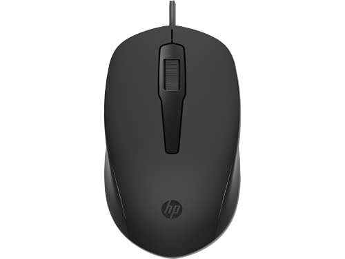 HP 150 Wired Mouse 1600 DPI Optical Tracking ,PC/Mac/Laptop(240J6AA), Black