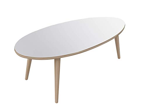 Movian Adour moderner  ovaler Couchtisch, 55 x 110 x 39, Weiß