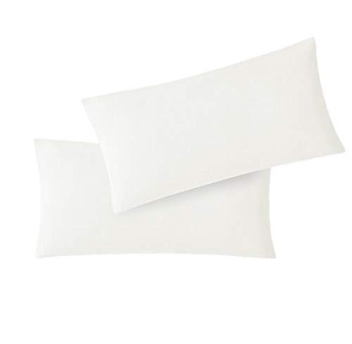 EXKLUSIV HEIMTEXTIL Fundas de Almohada de Jersey 2 Pack económico con Cremallera 40 x 60 cm Blanco