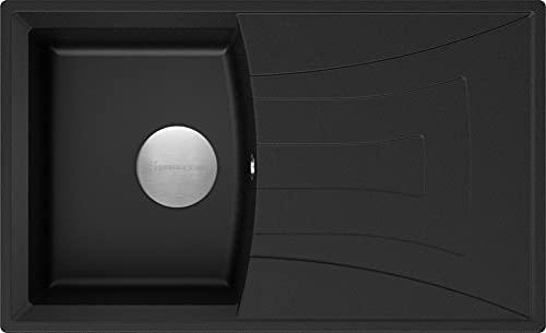 Spülbecken Schwarz 77 x 47 cm, Granitspüle + Siphon Premium, Küchenspüle ab 45er Unterschrank, Einbauspüle von Primagran