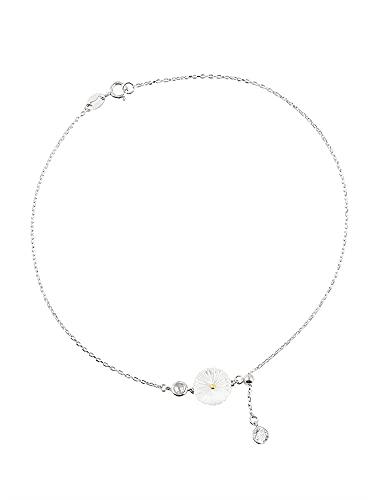 mimiliy Pulsera Mujer, 925 Silver Shell Daisy Crystal Round Charm Pulsera para Mujer Pulsera Brazalete Joyería de Boda Party