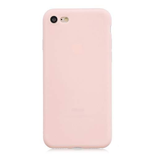 cuzz Custodia iPhone 7/8+{Film di Vetro temperato}Silicone TPU Cover Morbida Protettiva Custodia Ultra Sottile Leggero Cover-Rosa Chiaro
