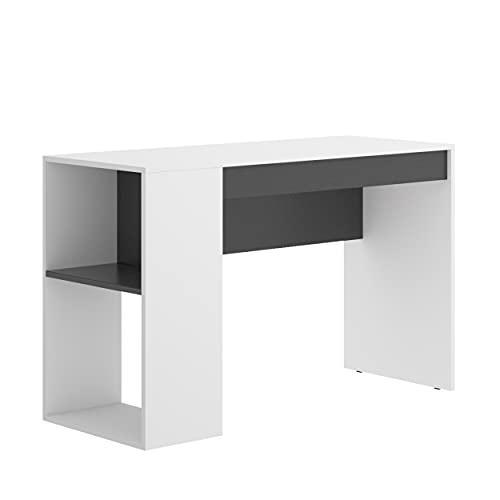Mesa Escritorio Juvenil TEO Tablero de partículas melaminizado Color Blanco/Natural o Grafito/Blanco 115x50x74 cm (Grafito/Blanco)