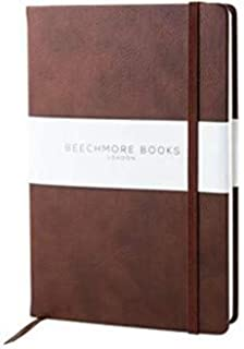Dotted Notebook - Premium British A5 Bullet Journal by Beechmore Books | Hardcover Vegan Leather, Thick 120gsm Cream Paper, Dot Grid Notebook in Gift Box (Chestnut Brown)