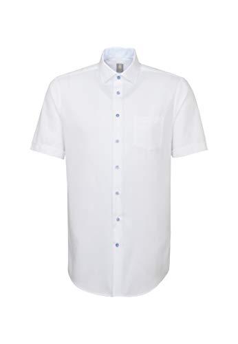 Jacques Britt Herren Business Hemd Custom Fit Kurzarm Kentkragen Bügelleicht